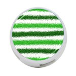 Metallic Green Glitter Stripes 4-Port USB Hub (One Side) Front