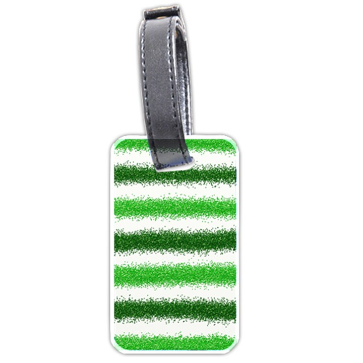 Metallic Green Glitter Stripes Luggage Tags (One Side)