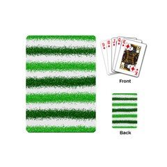 Metallic Green Glitter Stripes Playing Cards (Mini)