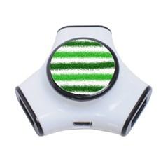 Metallic Green Glitter Stripes 3-Port USB Hub