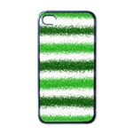 Metallic Green Glitter Stripes Apple iPhone 4 Case (Black) Front