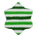 Metallic Green Glitter Stripes Ornament (Snowflake)  Front