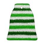 Metallic Green Glitter Stripes Ornament (Bell)  Front