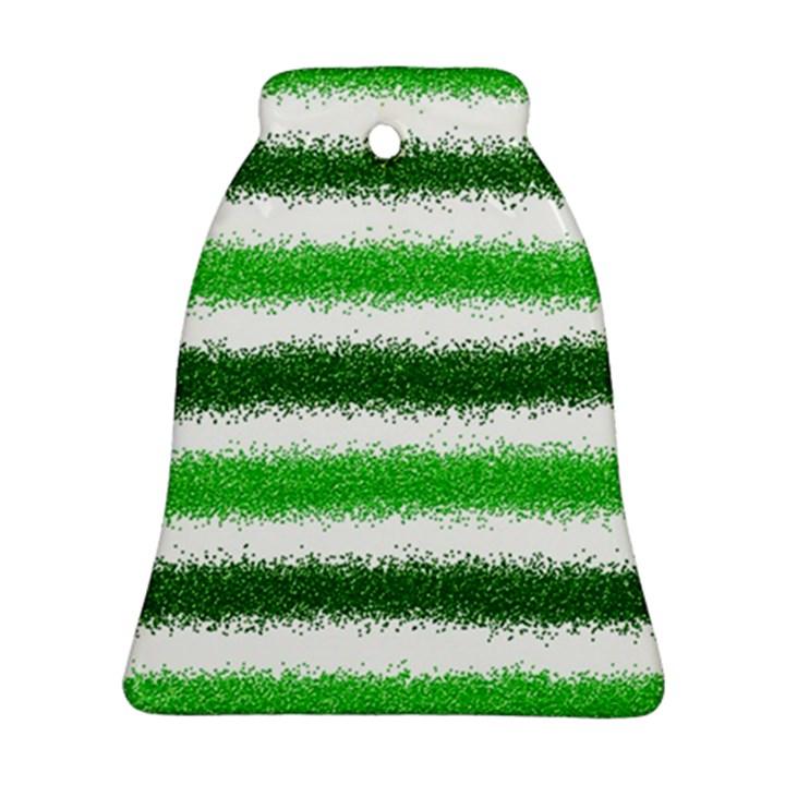 Metallic Green Glitter Stripes Ornament (Bell)