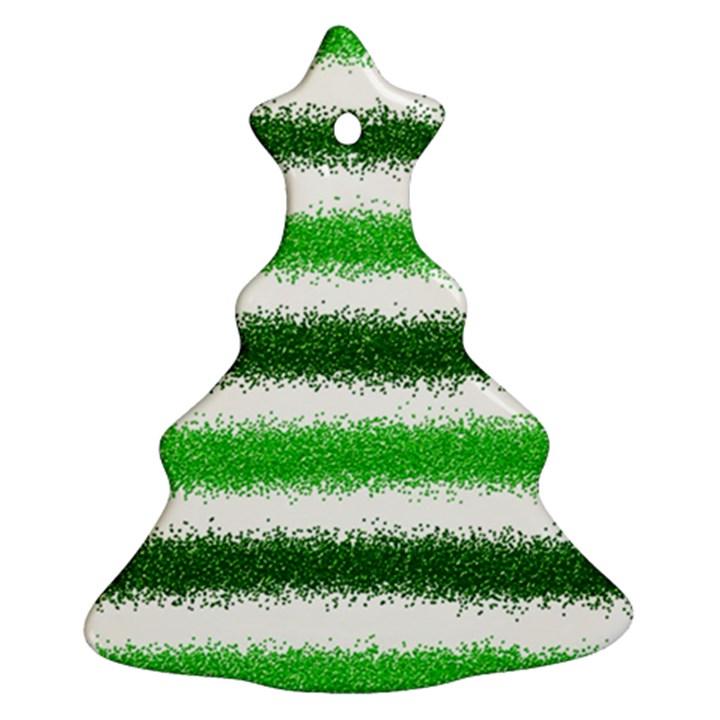 Metallic Green Glitter Stripes Christmas Tree Ornament (2 Sides)