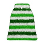 Metallic Green Glitter Stripes Bell Ornament (2 Sides) Front