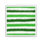 Metallic Green Glitter Stripes Memory Card Reader (Square)  Front