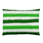 Metallic Green Glitter Stripes Pillow Case (Two Sides) Front