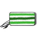 Metallic Green Glitter Stripes Portable Speaker (Black)  Front