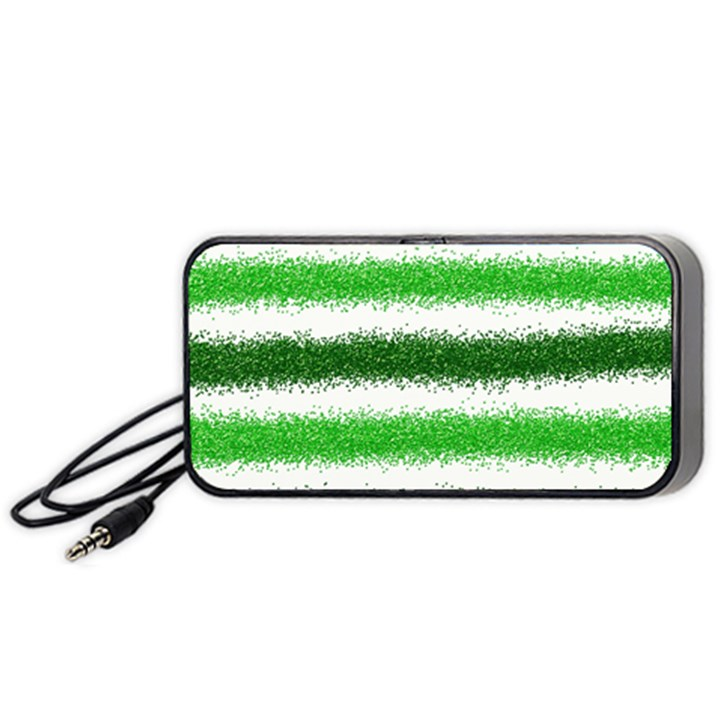 Metallic Green Glitter Stripes Portable Speaker (Black)