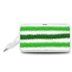 Metallic Green Glitter Stripes Portable Speaker (White)