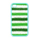 Metallic Green Glitter Stripes Apple iPhone 4 Case (Color) Front