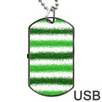 Metallic Green Glitter Stripes Dog Tag USB Flash (One Side) Front