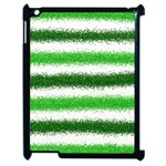 Metallic Green Glitter Stripes Apple iPad 2 Case (Black) Front