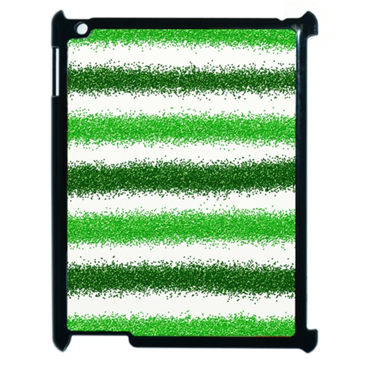 Metallic Green Glitter Stripes Apple iPad 2 Case (Black)