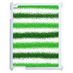 Metallic Green Glitter Stripes Apple iPad 2 Case (White) Front