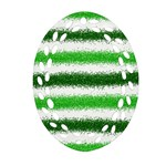 Metallic Green Glitter Stripes Ornament (Oval Filigree)  Front