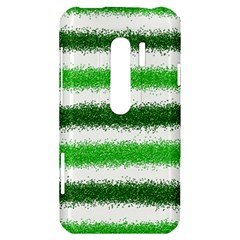 Metallic Green Glitter Stripes HTC Evo 3D Hardshell Case