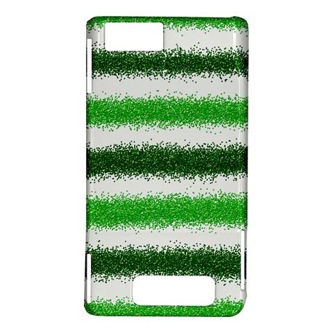 Metallic Green Glitter Stripes Motorola DROID X2