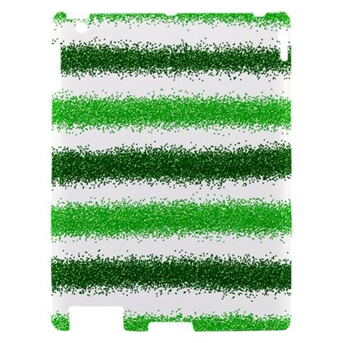 Metallic Green Glitter Stripes Apple iPad 2 Hardshell Case