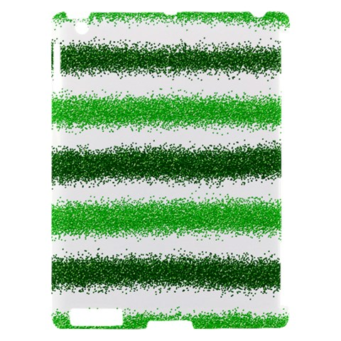 Metallic Green Glitter Stripes Apple iPad 2 Hardshell Case (Compatible with Smart Cover)