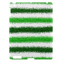 Metallic Green Glitter Stripes Apple iPad 3/4 Hardshell Case