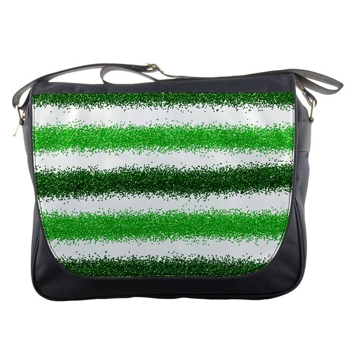 Metallic Green Glitter Stripes Messenger Bags