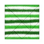 Metallic Green Glitter Stripes Acrylic Tangram Puzzle (6  x 6 ) Front