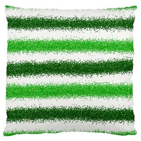 Metallic Green Glitter Stripes Large Cushion Case (One Side)