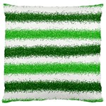Metallic Green Glitter Stripes Large Cushion Case (One Side) Front