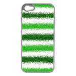 Metallic Green Glitter Stripes Apple iPhone 5 Case (Silver) Front