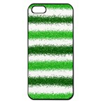Metallic Green Glitter Stripes Apple iPhone 5 Seamless Case (Black) Front