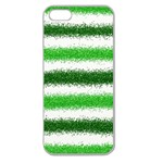 Metallic Green Glitter Stripes Apple Seamless iPhone 5 Case (Clear) Front