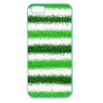 Metallic Green Glitter Stripes Apple Seamless iPhone 5 Case (Color) Front