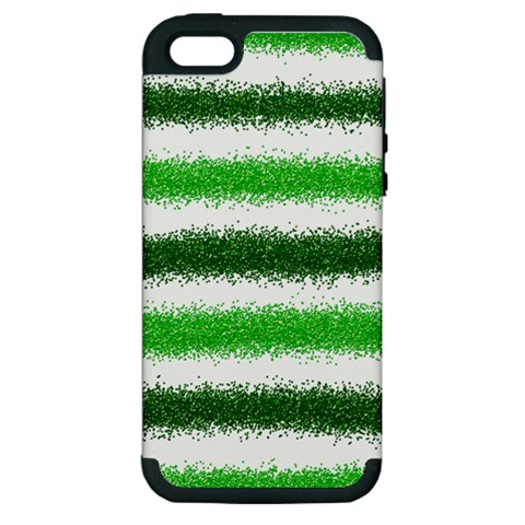 Metallic Green Glitter Stripes Apple iPhone 5 Hardshell Case (PC+Silicone)