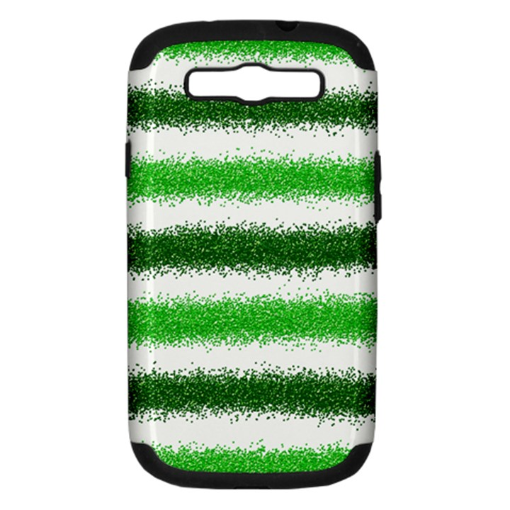 Metallic Green Glitter Stripes Samsung Galaxy S III Hardshell Case (PC+Silicone)