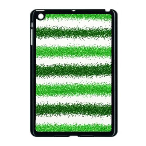 Metallic Green Glitter Stripes Apple iPad Mini Case (Black)