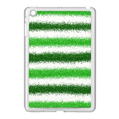 Metallic Green Glitter Stripes Apple iPad Mini Case (White)