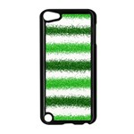 Metallic Green Glitter Stripes Apple iPod Touch 5 Case (Black) Front