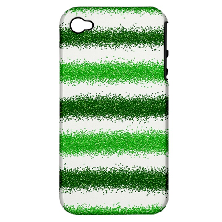 Metallic Green Glitter Stripes Apple iPhone 4/4S Hardshell Case (PC+Silicone)