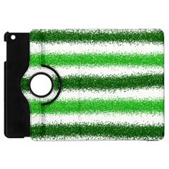 Metallic Green Glitter Stripes Apple iPad Mini Flip 360 Case
