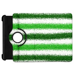 Metallic Green Glitter Stripes Kindle Fire HD Flip 360 Case