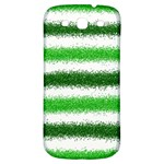 Metallic Green Glitter Stripes Samsung Galaxy S3 S III Classic Hardshell Back Case Front