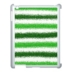 Metallic Green Glitter Stripes Apple iPad 3/4 Case (White)