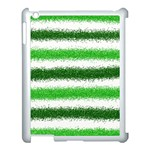 Metallic Green Glitter Stripes Apple iPad 3/4 Case (White) Front