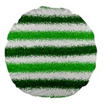 Metallic Green Glitter Stripes Large 18  Premium Round Cushions Front