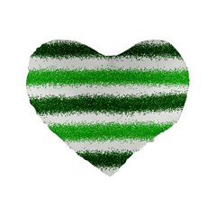 Metallic Green Glitter Stripes Standard 16  Premium Heart Shape Cushions