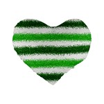 Metallic Green Glitter Stripes Standard 16  Premium Heart Shape Cushions Front