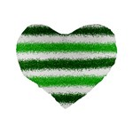 Metallic Green Glitter Stripes Standard 16  Premium Heart Shape Cushions Back
