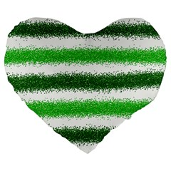Metallic Green Glitter Stripes Large 19  Premium Heart Shape Cushions
